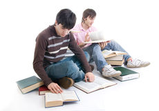 The two students with the books isolated Stock Photo