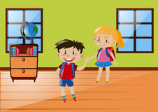 Two students in classroom. Illustration Stock Photos