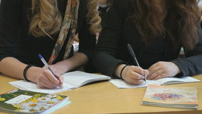 Two students decide tasks in copybooks at lesson. Two students sitting at the desk decide the tasks in the copybooks at the lesson stock video