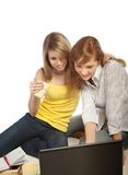 Two students doing homework together Stock Photo