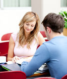 Two students doing their homework Royalty Free Stock Photo