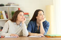 Two students dreaming looking at side Stock Photos