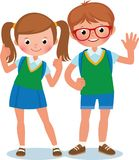 Two students of elementary school boy and girl in full length Stock Image