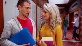 Two students flirting in the hallway stock video footage