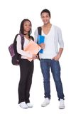 Two Students With Folder And Backpacks Royalty Free Stock Photo