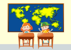 Two students in geography class Royalty Free Stock Image