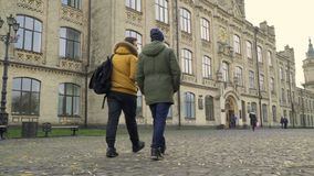 Two students goes to the entrance of university. Two students goes to the entrance of the university. Friends are discussing some educational material. Young stock footage