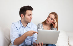 Two students learning with a notebook Stock Photos