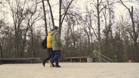 Two students goes to park after university. Two students leaves the university. Friends are discussing some educational material. Young people talks with each stock video footage