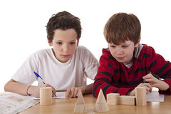 Two students in math´s class Stock Photos