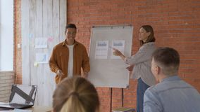 Two students near the flipchart. A man and a woman are motivational talk about the achievements of the company. 4K