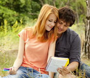 Two students at outdoor Stock Images