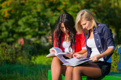 Two students read books on a bench Stock Image