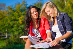 Two students read books on a bench Royalty Free Stock Image