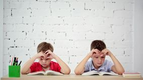 Students read a book in class. Two students read books in class stock footage