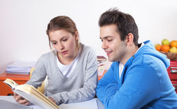 Two students reading in a book Royalty Free Stock Image