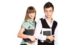 Two students with school books and tablets Stock Photo