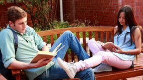 Two students sitting on a bench revising. On college campus stock video