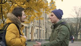 Two students talks near university. Two students stands in park near the university. Friends are discussing some educational material. Young people talks with stock video
