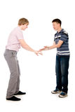 Two students who are successful hit on his hands Stock Images