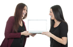 Two students work computer Royalty Free Stock Photo