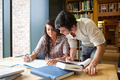 Two students working together Stock Photo