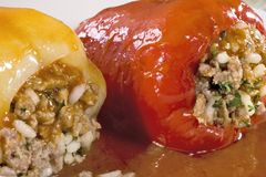 Two stuffed peppers Royalty Free Stock Photo