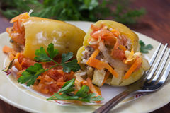 Two Stuffed peppers Stock Photo