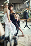 Two stunning ladies in a romantic pose royalty free stock images