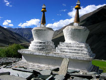 Two stupas in zanskar. Himalayan mountains Royalty Free Stock Photo