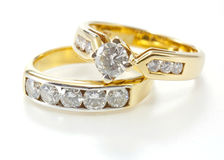 Two styles of golden ring with diamond Stock Image