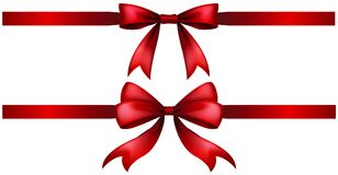 Two styles of red ribbon bow. Illustration Royalty Free Stock Photography