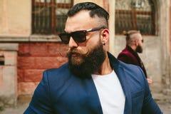 Two stylish bearded men Stock Photos