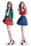 Two stylish beautiful girls with accessories. Women in fashion clothes. Sketch. stock illustration