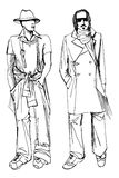 Two stylish dude men .Fashion vector sketch Stock Image