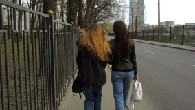Two stylish girls walk along city roads stock footage