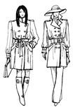 Two stylish lovely girls. Fashion sketch vector Royalty Free Stock Photos