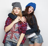 Two stylish sexy hipster girls best friends Stock Photo