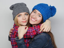 Two stylish sexy hipster girls best friends Royalty Free Stock Image