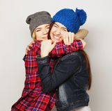 Two stylish sexy hipster girls best friends Royalty Free Stock Images