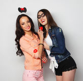 Two stylish sexy hipster girls best friends ready for party Royalty Free Stock Image