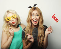 Two stylish sexy hipster girls  ready for party Stock Photos