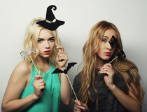 Two stylish sexy hipster girls  ready for party Royalty Free Stock Image