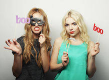 Two stylish sexy hipster girls  ready for party Royalty Free Stock Photos