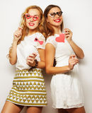 Two stylish sexygirls best friends ready for party Royalty Free Stock Photo