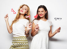 Two stylish sexygirls best friends ready for party Royalty Free Stock Photography