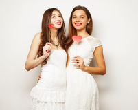 Two stylish sexygirls best friends ready for party Royalty Free Stock Images
