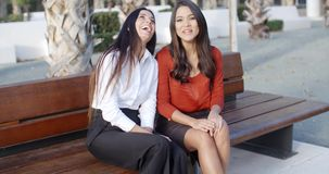 Two stylish woman sitting chatting outdoors. Two stylish young woman with long brown hair sitting on a wooden bench in an urban square chatting together outdoors stock video