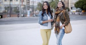 Two stylish women chatting outdoors in a town. Two stylish smiling young women standing facing each other chatting outdoors in a town square  head and shoulders stock video footage