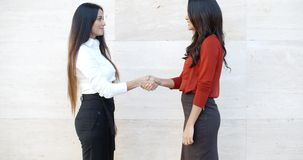 Two stylish women shaking hands outdoors. Two stylish women standing in profile shaking hands outdoors in front of a white wall  bilateral copyspace stock video footage